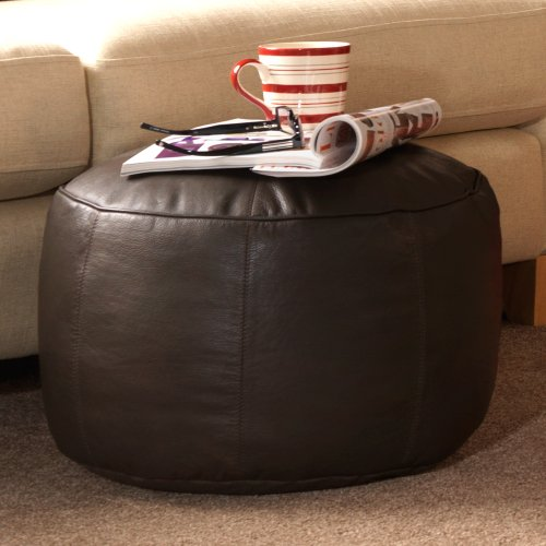 Luxury REAL LEATHER Footstool - ICON Designer Bean Bag Foot Stool - Foot Rest in Brown Leather