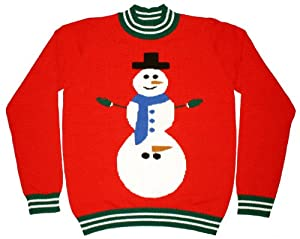 Ugly Christmas Sweater - Excited Snowman Naughty Holiday Sweater by Skedouche
