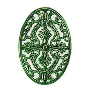 11 x 7.5 Oval Two Tone Green Trivet by Old Dutch