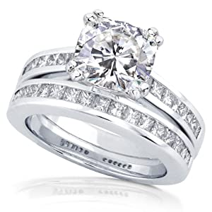 2ct TW Cushion-cut Moissanite and Princess Diamond Bridal Set in 14k White Gold - Size 7
