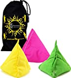 "3x ""Tri-It"" Juggling Balls - Set of 3 Pyramid Juggling Sacks, Bean Bags For Kids & Adults +Fabric Travel Bag. (Yellow/Pink/Green)"