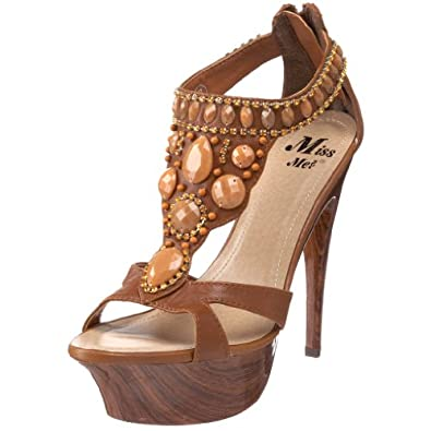 Miss Me Women's Skyler 11 T-Strap Sandal,Tan,7 M US
