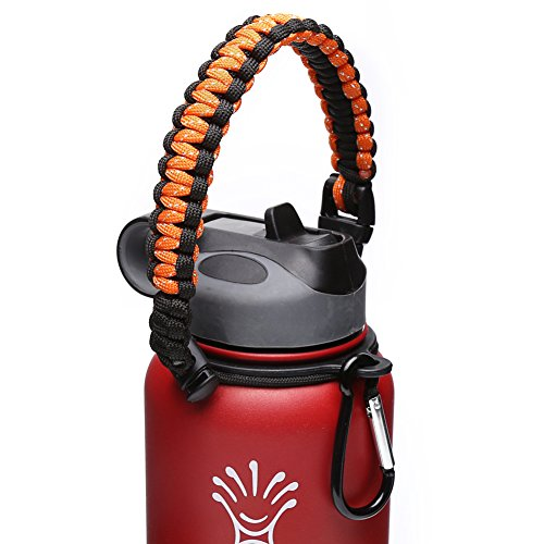 Hydro Flask Handle - Paracord Survival Strap with Security Ring for Wide Mouth Water Bottles Carrier (Orange/Black) (Water Jug Orange compare prices)