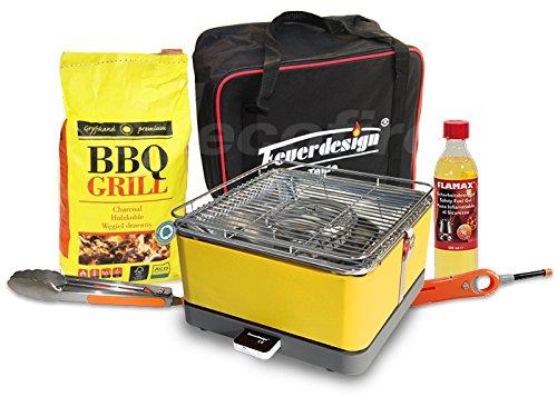 Rauchfreier Holzkohle Tischgrill TEIDE v. Feuerdesign – Gelb, im Super Pack mit viel Grill-Zubehör kaufen