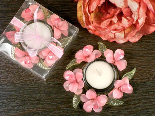 Elegant Frosted Pink Glass Flower Candle Holder - Wedding Party Favors