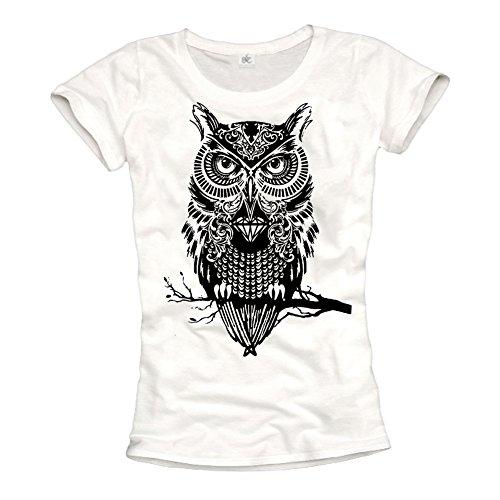 Makaya Women'S Swag T-Shirt Wiht Owl Print White Size S