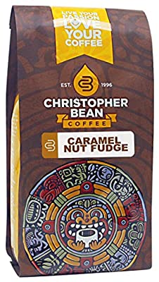 Christopher Bean Coffee Decaffeinated Whole Bean Flavored Coffee, Caramel Nut Fudge Truffle, 12 Ounce