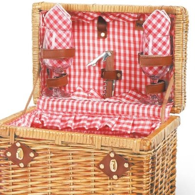 Picnic Time Chardonnay Wine Basket (Red & White check lining w/ red check napkins )
