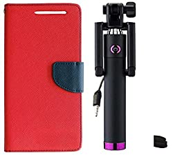 Novo Style Wallet Case Cover For Motorola Moto G (Gen 3) Red + Wired Selfie Stick No Battery Charging Premium Sturdy Design Best Pocket Sized Selfie Stick