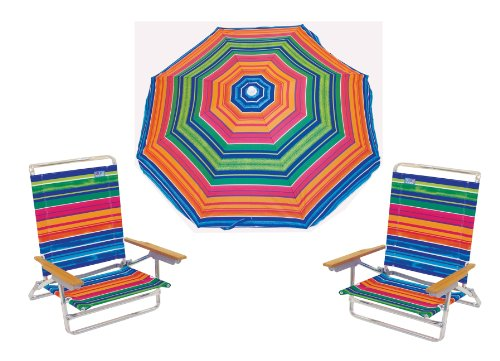 RIO 2 Fantasy 5 Position to Lay Flat Beach Chairs (2 chairs included) with a DELUXE 6ft Rio Brands 100 SPF sun protection factor Umbrella