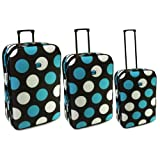 Karabar Super Lightweight Set of 3 Expandable Suitcases - 3 Years Warranty! (Black/Blue/White)