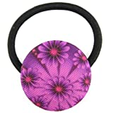 Violet Fractal Flower Printed Silk Screen Woven Fabric Covered Button Hair Elastic