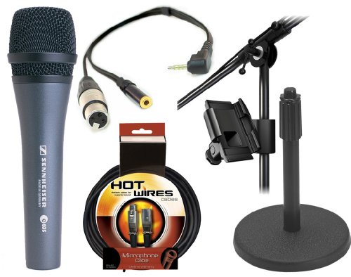 Sennheiser E835 - Cardioid Handheld Dynamic Microphone With Xlr Jack To Iphone, Ipad2, Ipod Touch And Other Compatible Device For Professional Recording, With A 3.5Mm Mini Jack For Headphones & Iklip Mini - Universal Microphone Stand Adapter & On Stage Ds