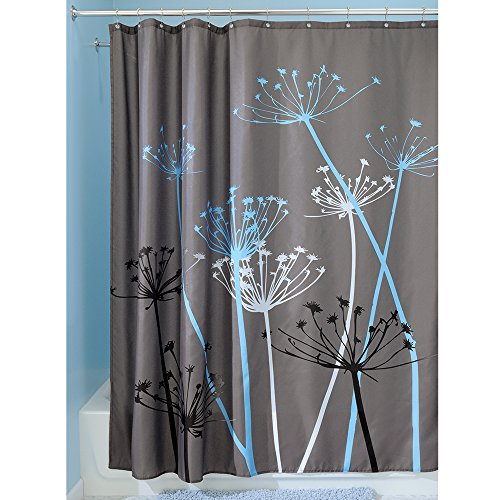 Interdesign Thistle Shower Curtain, 72 X 72, Gray/Blue front-952733