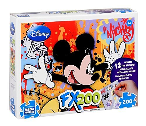 Disney Jigsaw Puzzle - FX200 Mega Puzzles - Mickey Mouse - Includes 12 Foil Stickers by Mega Brands - 1
