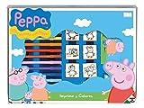 Peppa Pig - Set Créatif - Tampons, Feutres, Carnet à Dessin, Règle...