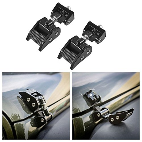 Opall Aluminum Hood Latch Lock Anti-Theft Kit Assembly locking Hood Catch Set – Pair For Jeep Wrangler JK & Unlimited 2door & 4door Black 2007 2008 2009 2010 2011 2012 2013 2014 2015 2016 (Black)