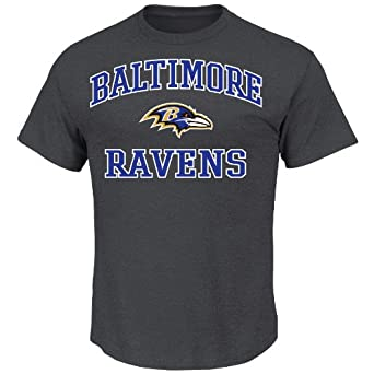 NFL Heart & Soul Baltimore Ravens Basic Tee, Charcoal Hearther, Small