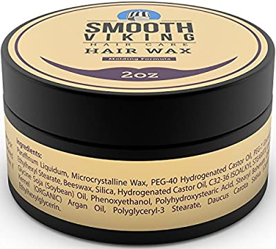 Hair Wax for Men - Hair Styling Formula for Modern Styling - Workable & Pliable Product for Added Texture & Shine - Works on All Hair Types, Styles & Lengths - 2 OZ - Smooth Viking