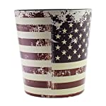 JustNile Country Themed Vintage PU Leather Trash Can without Lid - American USA Flag