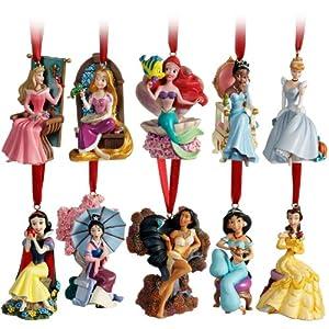 Limited Edition 2011 Disney Princess Christmas Ornament Set (10-Pc.) Including Princesses Rapunzel, Ariel, Aurora, Belle, Cinderella, Jasmine, Snow White, Mulan, Pocahontas and Tiana by Disney Store