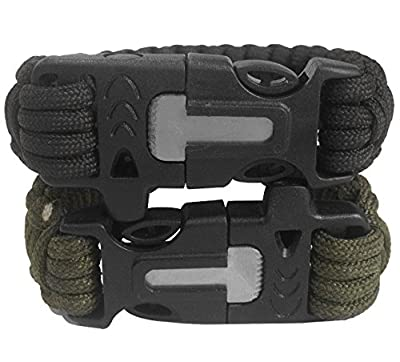 Attmu Outdoor Survival Paracord Bracelet with Fire Starter Scraper Whistle Kits, Set of 2 by Attmu