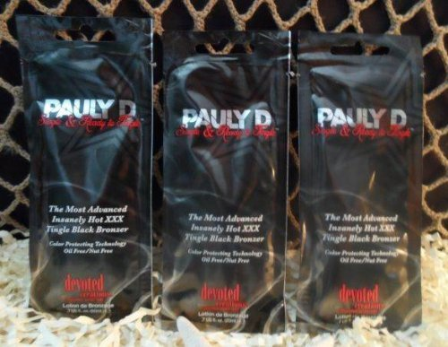 3 Packets Pauly D Single & Ready To Tingle Tanning Lotion .7 Oz. Each