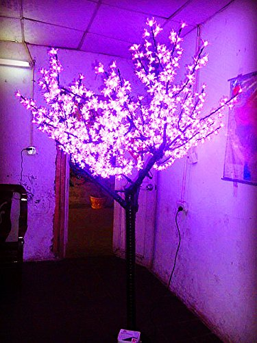 1,000Pcs Led Bulbs With Pink Color + 1,000Pcs Large Pink Cherry Blossom Flowers + 6.5Ft/2M Height Led Cherry Blossom Tree Light Outdoor Decoration Holiday Decoration Home Decoration Tree Led Christmas Tree Light Rainproof