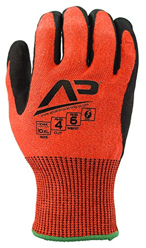 Apollo Performance Work Gloves 1041, Tool Grabber Cut Protect 4, Cut Resistant Glove, 13 Gauge HPPE Knit, Triple Polymer Hybrid Grip, Touch Screen Capabilities with Lightning Touch Technology, ANSI Cut Level 4, 1 Pair, Small, Red (Tg4 Thermal compare prices)