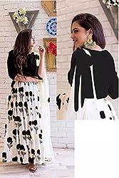 Kesu Fashion Women's Printed Un-stitched Lehenga Choli With Dupatta In Banglori Silk Fabric (KUPJBB1004) Black