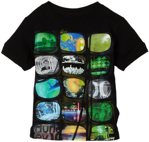 Hurley Boys 2-7 Media Overload Tee Shirt,Black,6