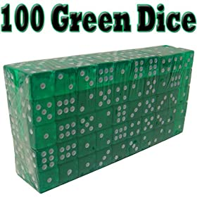 100 Green Dice - 19mm