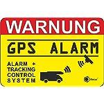 """Hinweisaufkleber """"GPS Alarm, Tracking System"""", hin_005, 6x4cm, iSecur, Aufkleber, Hinweis, Achtung, Warnung, GPS-gesichert, Alarm + Tracking Control System, außenklebend für Fensterscheiben, Wohnmobil, Wohnwagen"""
