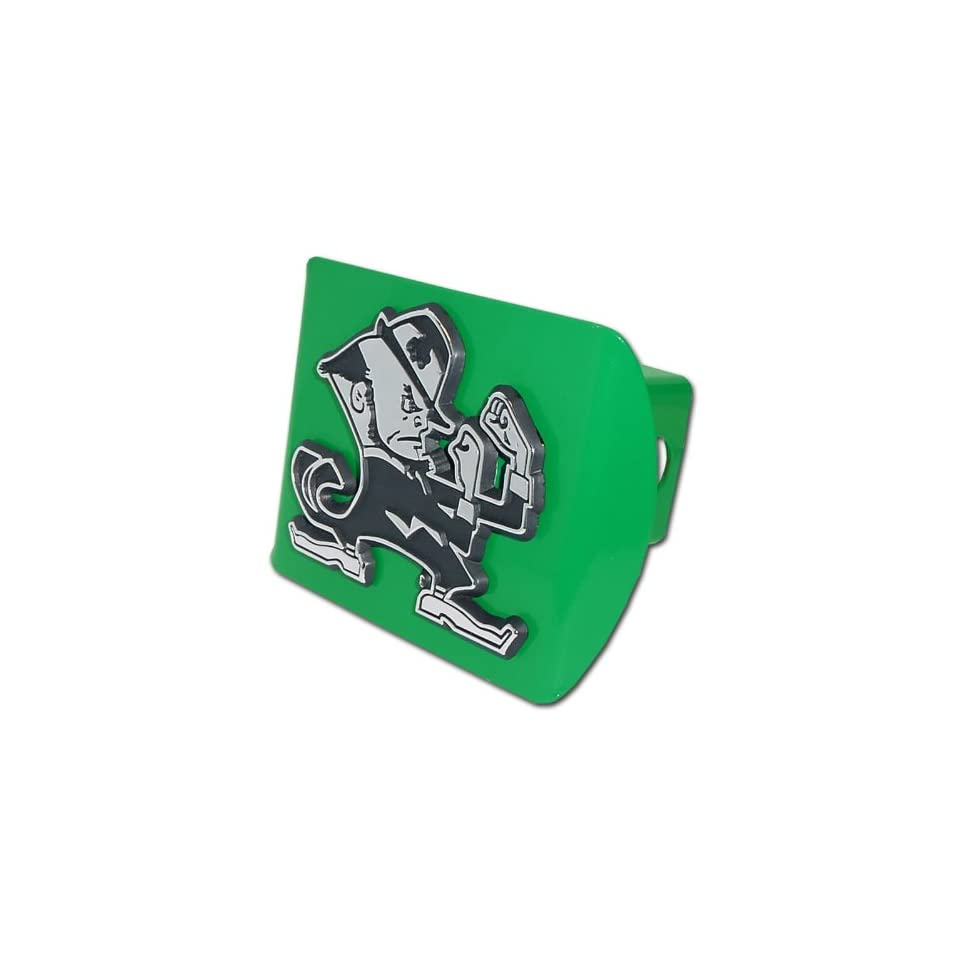 University of Notre Dame Fighting Irish Green with Chrome Leprechaun Emblem Metal Trailer Hitch Cover Fits 2 Inch Auto Car Truck Receiver with NCAA College Sports Logo