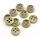 15 x Antique Bronze Vintage Colour 11mm Metal Sewing Knitting Clothes Buttons with 4 Holes