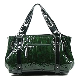 MNL03 Green Black New Reptile Print Oversize Handbag