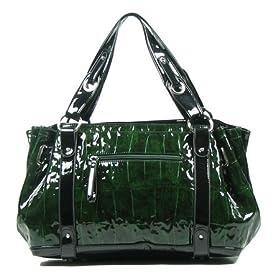MNL03 Green Black New Reptile Print Oversize Handbag
