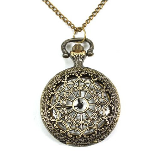 HOTER Spider-web Carving Pattern Hollow Out Design Antique Style Delicate Pocket Watch, Gift Idea - Small