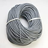 Angel Malone 2 Meters Grey Round Genuine Leather 3mm Cord Thong for Knotting, Jewellery Making, Multi Purpose