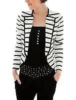 Allegra K Women Notched Lapel Striped Blazer Jacket