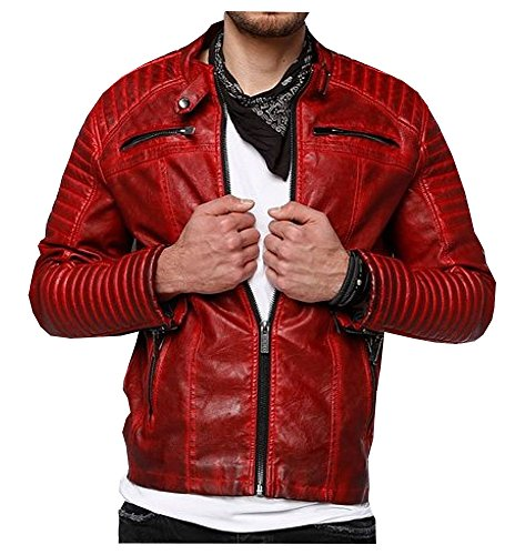 Ponte Rosso in pelle giacca uomo Arif Red X-Large