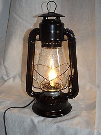 dietz junior 39 vintage style 39 electric lantern table lamp black. Black Bedroom Furniture Sets. Home Design Ideas