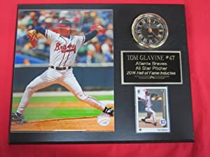 Tom Glavine Atlanta Braves Collectors Clock Plaque w 8x10 Photo and Card by J & C Baseball Clubhouse