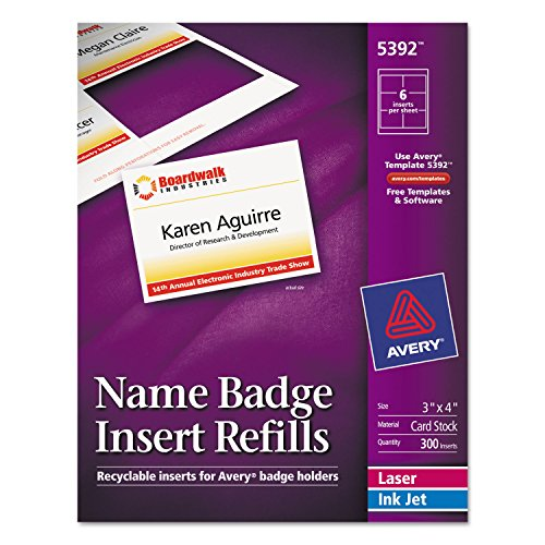 Additional Laser/Inkjet Inserts, 3 x 4, White, 300/Box (Avery Name Badge Inserts 5392 compare prices)