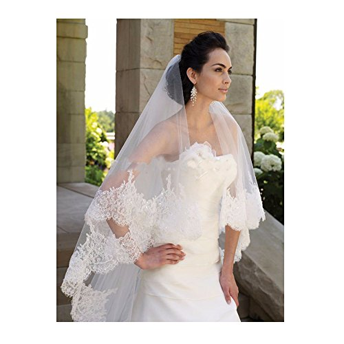 EllieHouse Women's Custom Made Long Lace Wedding Bridal Veil With Free Comb Ivory E74