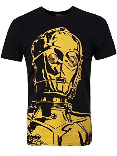 Star Wars Men'S C3Po Big Face T-Shirt Black