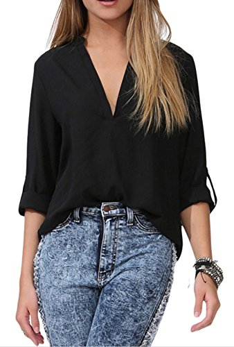 IF FEEL Womens Casual Loose V Neck Solid Flowy Sleeve Multicolor Shirt Top Blouse - Black Size XL