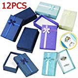 Popamazing 12 x Luxury Cardboard Boxes for Gifts Jewellery Pendant Earring Bracelet Bangle 5x8x25cm