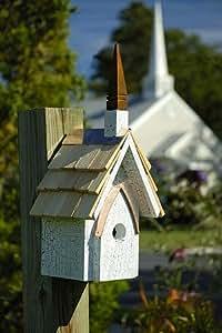 White Crackled Finish Chapel Bird House