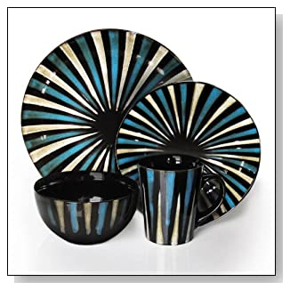 Pinwheel Stripes 16 Piece Dinnerware Set in Blue